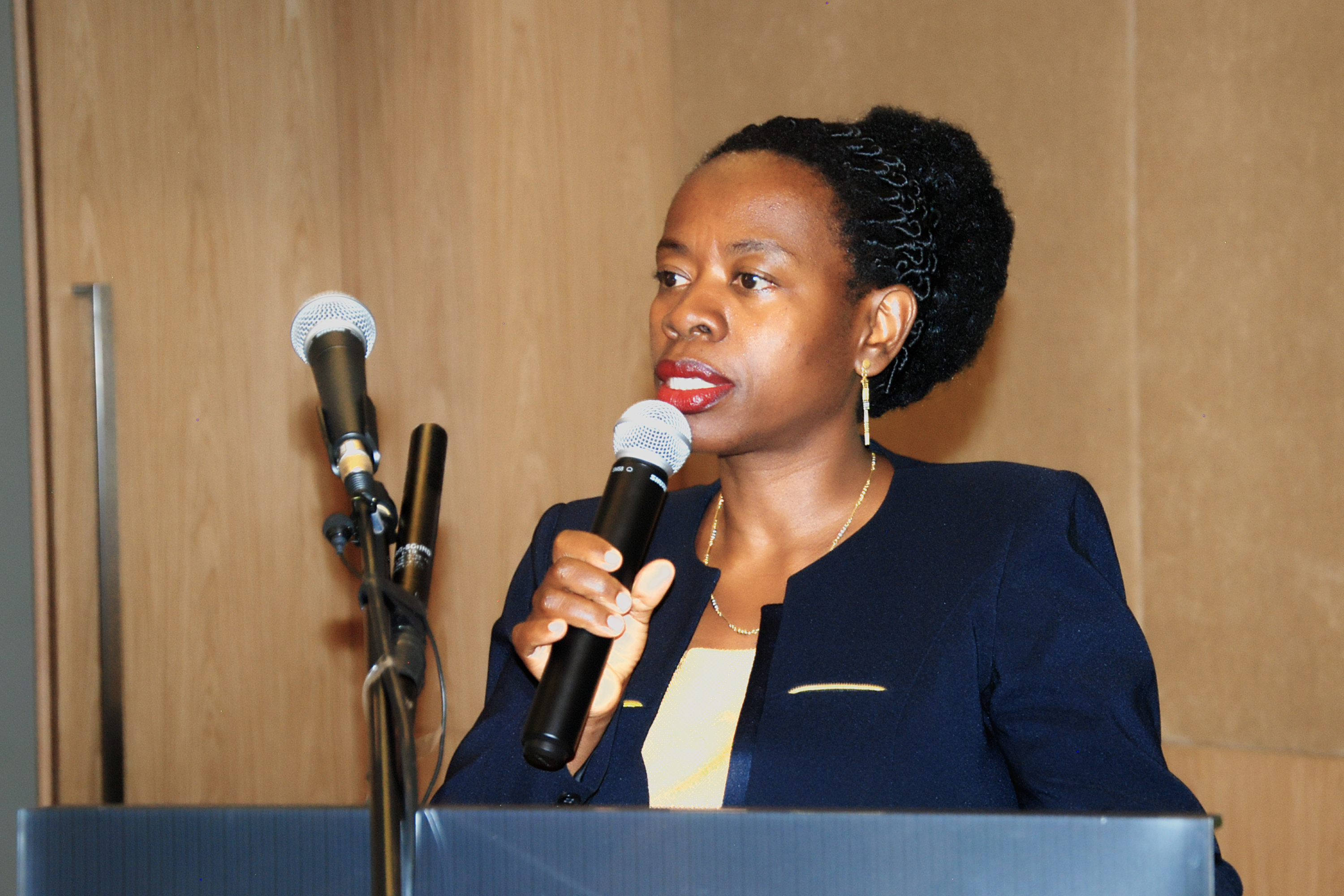BNR Vice Governor, Monique Nsanzabaganwa makes her remarks this morning