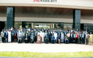 Delegates at the ongoing AFRACA conference pose for a group photo